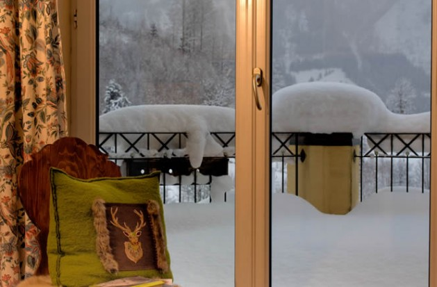 Balkon von Appartement Golfegg im Winter